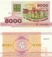 Belarus P12, 5000 Rublei, Buildings In Minsk / Mounted Knight UNC, 1993 $4CV - Belarus
