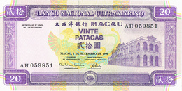MACAU - 20 PATACAS -MACAU, 1 DE SETEMBRO DE 1996-BANCO NACIONAL ULTRAMARINO. - Portugal
