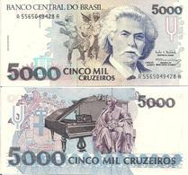 Brazil P232c,5000 Cruzeiros, Composer Carlos Gómes, Grand Piano 1993 UNC - Brazil