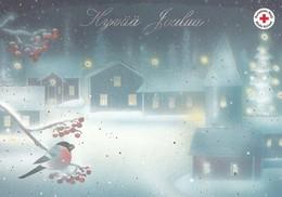 Birds On Rowan In Winter Landscape - Bullfinches - Red Cross - Postal Stationery - Suomi Finland - Postage Paid - Finlande
