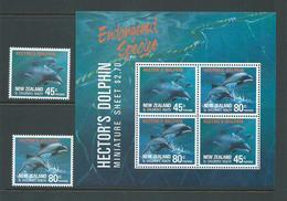 New Zealand 1991 Dolphin Charity Set 2 & Miniature Sheet MNH - Nueva Zelanda