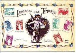Langage Des Timbres - Angelot Facteur Dans Un Cœur - CPM 10,5x15 Qui N'a Pas Voyagé - Vers 1982 - Poste & Facteurs