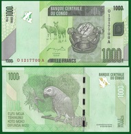 Congo P101a, 1000 Francs, Okapi, Kanioka Box / Parrot See UV & W/m UNC $5 CV - Congo