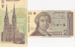 Croatia P19a, 25 Dinar, Geometric Calculations / Zagreb Cathedral 1991 UNC - Croatia