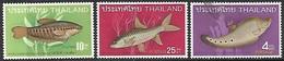 Thailand  1968  Sc#501 10st, #503 25st MH, #508 4 Baht Fish  Used   2016 Scott Value $20.25 - Poissons
