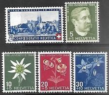 Switzerland 1944    Sc#B136-40   MLH   2016 Scott Value $4.05 - Unused Stamps