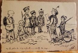 CPA DESSIN à L'encre De Chine Sur Canson , ENFANTS JOUANT LA GUERRE . HAND MADE Drawing INDIA INK CHILDREN PLAYING WWI - Illustrateurs & Photographes