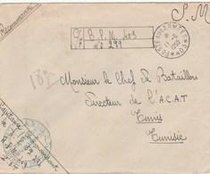 LETTRE FM REC PROVISOIRE BPM 403 - CIE DU TRAIN - CDT DU SP 52294 - POUR CDT DE  L A.C.A.T - TUNIS 11/6/50 - Postmark Collection (Covers)