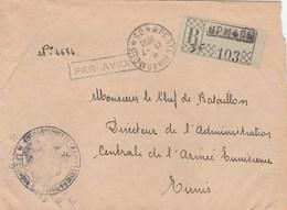 LETTRE REC FM BPM405 17/7/50 CACHET CDT DU TRAIN EXTREME ORIENT POUR CHEF ADM ARMEE TUNISIENNE - Postmark Collection (Covers)