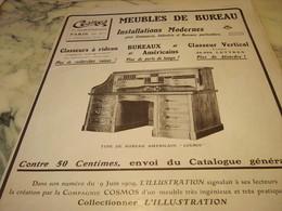 ANCIENNE PUBLICITE BUREAU TYPE AMERICAIN COSMOS 1910 - Autres Collections