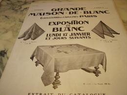 ANCIENNE   PUBLICITE MAGASIN EXPOSITION  LA GRANDE MAISON DE BLANC  1910 - Habits & Linge D'époque