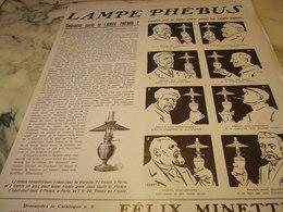 ANCIENNE PUBLICITE COMMENT PARLE LA LAMPE PHEBUS 1910 - Advertising