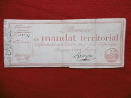 PROMESSE DE MANDAT TERRITORIAL BON POUR CENT FRANCS AN 4 DE LA REPUBLIQUE - Actions & Titres