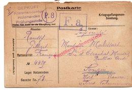 CARTE PRISONNIER DE GUERRE 1914 18  CARTE  1916  CACHET  MILITAIRE ALLEMAND - Guerre 1914-18