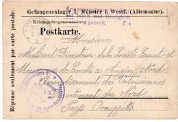 CARTE PRISONNIER DE GUERRE 1914 18  CARTE  1916  CACHET  MILITAIRE ALLEMAND  MUNSTER - Marcophilie (Lettres)