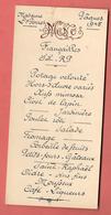 """Menu De FIANCAILLES - PAQUES 1945  - Le Mot """"MENU"""" Est En Relief - Menus"""