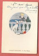 Menu De  MARIAGE Novembre 1933 Au CHALET EDOUARD 33 Rue Manin PARIS  Menu Imprimé -Fillette, Chien Lévrier - Menus