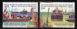 India MNH 2018, Set Of 2, India Iran Joint Issue, Port Of Chabahar & Deedayal. Ship, Crane,  Transport, - Nuevos