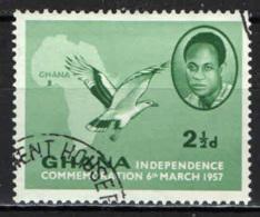 GHANA - 1957 - INDIPENDENZA DEL GHANA - EFFIGIE DI GWAME NKRUMAH - MAPPA DELL'AFRICA - UCCELLO CHE VOLA - USATO - Ghana (1957-...)