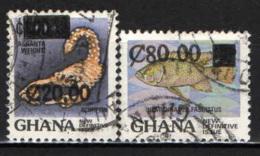 GHANA - 1989 - FRANCOBOLLI CON SOVRASTAMPA - OVERPRINTED - USATI - Ghana (1957-...)
