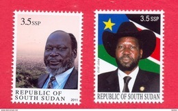 Leaders SOUTH SUDAN =   3.5 SSP Dr John Garang And 3.5 SSP President Salva Kiir = Südsudan Soudan Du Sud - Beroemde Personen