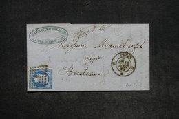 FRANCE - Lettre De Paris Pour Bordeaux En 1862 , Affranchissement Napoléon , Oblitération Losange H - L 26038 - 1849-1876: Période Classique