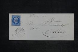 FRANCE - Lettre De Mennetou/Cher Pour Orléans En 1859 , Affranchissement Napoléon , PC 1961 - L 26043 - Storia Postale