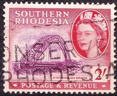 SOUTHERN RHODESIA 1953 QEII 2/- Purple & Scarlet SG87 FU - Southern Rhodesia (...-1964)