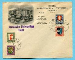 1926 - Illustrierter Brief Genève - Hotel Métropole Et National Mit Satz Nr. 37-40 (Mi 218-221) - Lettres & Documents