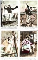 Scénette En 4 Cartes Postales D'un  Brave Matelot Marin Rêvant à La Femme Qui L'attend - Hommes