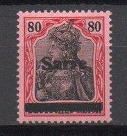 - SARRE N° 16B Neuf * - 80 P. Rouge Et Noir S. Rose Série GERMANIA 1920 - 3e Tirage - Signé BRUN + CALVES - Cote 320 € - 1920-35 Société Des Nations