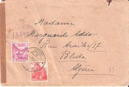 Lettre De SUISSE Pour BLIDAH Avec Marque De Controle TA316 D'ALGER - Marcophilie (Lettres)