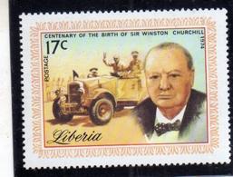 LIBERIA 1977 WINSTON CHURCHILL CENTENARY BIRTH CENTANARIO DELLA NASCITA 17c MNH - Liberia