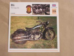 BSA 750 V Twin Y13 Grande Bretagne 1936 Moto Fiche Descriptive Motocyclette Motos Motorcycle Motocyclette - Sammelkarten, Lernkarten