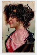 - CPA FANTAISIE (femmes) - Carte à Cheveux Avec Cordon (vrais Cheveux Protégés Par Le Film Celuloid D'époque) - N° 1685 - Femmes