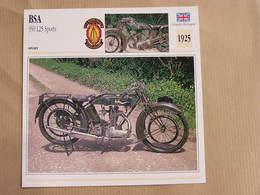 BSA 350 L25 Sports Grande Bretagne 1925 Moto Fiche Descriptive Motocyclette Motos Motorcycle Motocyclette - Sammelkarten, Lernkarten