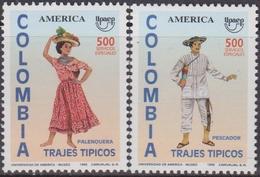 Upaep Colombia 1067/68 1996 Pescador Fisherman Costum MMH - Costumi