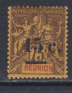 Réunion N° 54 X Timbres De 1892 Surchargés : 15 C. Sur 75 C. Violet-noir Sur Jaune  Trace De Charnière Sinon TB - Neufs