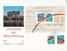 Germany FDC 1990 Öffnung Der Innerdeutschen Grenze Und Der Berliner Mauer Souvenir Sheet (LAR7-35) - FDC: Buste