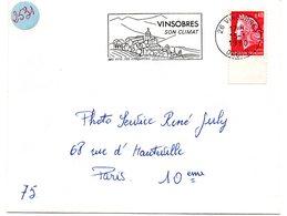 DROME - Dépt N° 26 = VINSOBRES 1970 = FLAMME Codée SUPERBE = SECAP Illustrée  ' CLIMAT / Vins - Croquettes ' - Marcophilie (Lettres)