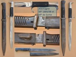 2 Baïonnettes / 2 Bayonets / 2 Bajonetten / 2 Baionetas Allemagne 1884/98 Et De Sortie - Armes Blanches