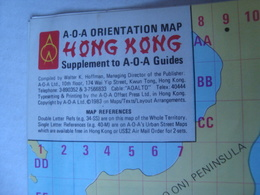 HONG KONG A-O-A ORIENTATION MAP. SUPPLEMENT TO A-O-A GUIDES - 1983. 29X42 CM. VERY GOOD CONDITION. - Wegenkaarten