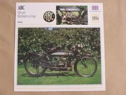 ABC 500 Cm3 Bicylindre Grande Bretagne 1914  Moto Fiche Descriptive Motocyclette Motos Motorcycle Motocyclette - Fiches Illustrées