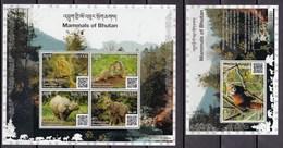 Bhutan 2019 Fauna Mammals Rhinoceros Red Panda Marmot Monkey SS + MS MNH - Sonstige
