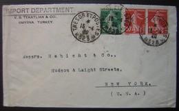 Smyrne Armée D'orient Trésor Et Postes 528 1920 (Turquie) Import Departement V.B. Tekatlian Lettre Pour New York (USA) - 1877-1920: Période Semi Moderne