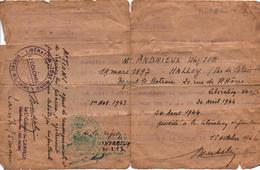 ATTESTATION CERTIFICAT APPARTENANCE RESISTANCE FFI LIBERATION NORD 1943 1944 AGENT RENSEIGNEMENT SABOTAGE - 1939-45