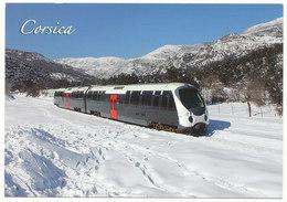 """Autorail """"AMG"""" Arrive En Gare De Barchetta (Corse) Dans La Neige - Trains"""