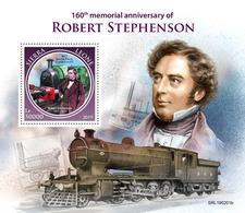 Sierra Leone. 2019 160th Memorial Anniversary Of Robert Stephenson. (0201b)  OFFICIAL ISSUE - Trains