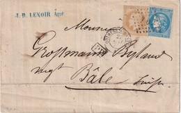FRANCE 1871 LETTRE DE NANTES POUR BALE  CACHET FERROVIAIRE QUIMPER A NANTES - Poststempel (Briefe)