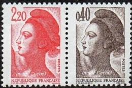 France Liberté De Gandon N° 2376 B ** -> Paire De Carnet - 1982-90 Liberty Of Gandon